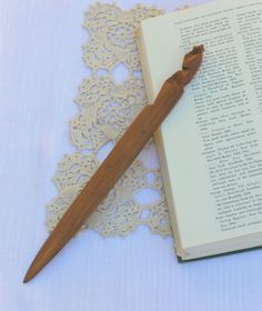 Antique Paper Knife Wooden Hand Carved Primitive with Bear Handle Book Knives Free Shipping by CaliCollectables on Etsy