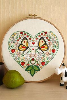 Ornamental Heart with strawberry and butterflies cross stitch pattern needlepoint on Etsy, $5.00
