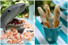 The shark's mouth holding the shrimp dipping sauce has me cracking up! Hahahah! #shark themed dinner party