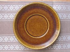 """ONE Swedish Vintage Saucer; Rörstrand Sweden KANSAS Saucer / 6.5""""/ 16cm Small Plate; Speckled Brown Saucer; Scandinavian Pottery Vtg"""