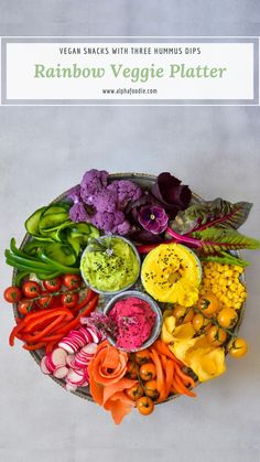 This is the ultimate super easy to put together rainbow veggie plater with rainbow dips that would make vegetables yummy and super appealing to everyone. Fruit platter veggie tray Rainbow Veggie Platter with Hummus 3 ways Party Platters, Veggie Platters, Veggie Tray, Vegetable Salad, Vegetable Recipes, Vegetable Snacks, Hummus Platter, Crudite Platter Ideas, Fruit Platter Designs