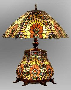 Peacock Stained Glass Tiffany Table Lamp