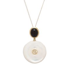 Pearl Lustre 14K Yellow Gold Mother of Pearl & Onyx Pendant with Chain