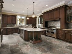 tan kitchen floor tile | dark cabinets with tile floor design