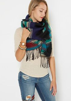 Aztec Fringed Blanket Scarf | rue21