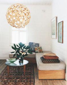 Love this alternative to a sofa // pendant light //