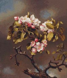 Branch of Apple Blossoms Against a Cloudy Sky Cross Stitch Pattern