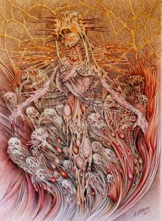 Singular Mind by KirenBagchee on DeviantArt Coloured Pencils, Dark Art, Love Art, Graffiti, Cancer, Deviantart, Artwork, Painting, Monsters