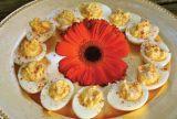 Palmetto Cheese stuffed deviled eggs
