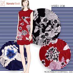 MICROTOUCH ESTAMPADO 3282      #nanetetextil #malhas #malharia #produtonacional #modabrasileira #estampa #print #pattern #textil #inspiracao #verao2018 #floral #tropical #nautical