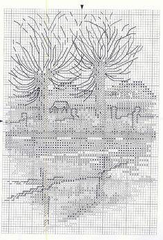 les saules - grille (voir ouvrage brodé)
