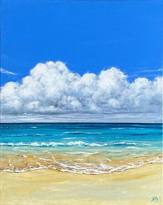 strand in acrylverf op doke, 50 x 40 cm Strand, Waves, Ocean, Beach, Painting, Outdoor, Paintings On Canvas, Outdoors, The Beach