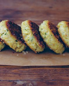 Quinoa Patties - quinoa, onion, grated Parmesan or Gruyere cheese, chives, whole-grain bread crumbs (ground rolled oats), eggs, garlic, olive oil, sea salt