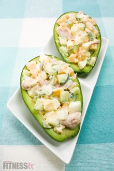 Avocado stuffed with tuna, cucumbers, eggs, cheese and greek yogurt. This looks good but without the egg