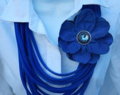 Items similar to Extra Long Denim Blue T Shirt Jersey Infinity Scarf / Necklace on Etsy
