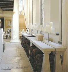Cement console tables by Elegant; room by Bobby McAlpine