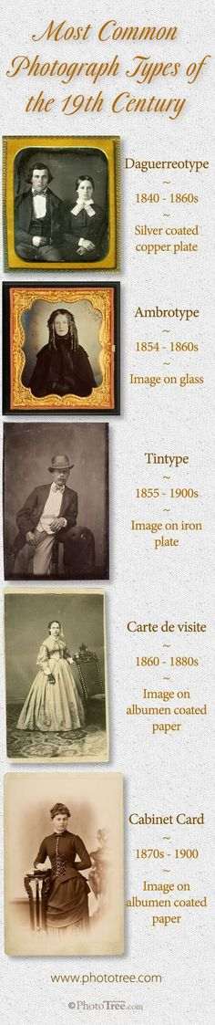 The progression of photographic formats in the 1800s. Nearly all consumer photographs in the 19th century were produced by one of these technologies. #ancestry #genealogy #familyhistory #familytree