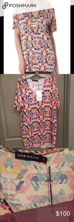 Antik Batik Beau Maxi Tee Southwest-inspired pattern on a long jersey tee. Long shirt can be worn with pants or a short dress. Antik Batik Tops