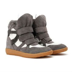 b1a1db981c1 Isabel Marant High Top Wedge Sneakers Suede And Leather Gray White