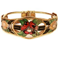 Enamel Bracelet, Valentines Day Gift, Hinged Bangle, Floral Flowers... (890 RUB) ❤ liked on Polyvore featuring jewelry, bracelets, hinged bangle, vintage jewelry, heart bangle, flower bangle bracelet and vintage retro jewelry