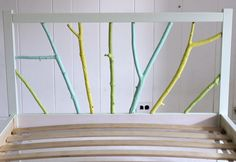 Ikea Hack: Painted Branch Bed Frame : This hack requires a very inexpensive twin Fjellse Ikea bed frame, paint, and free branches from the great outdoors. Painted Bed Frames, Ikea Bed Frames, Painted Beds, Bed Frame And Headboard, Diy Headboards, Headboard Ideas, Ikea Bed Hack, Girl Rooms, Houses