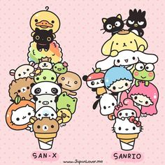 San-x and Sanrio are both kawaii character companies. San-x most famous characters include Rilakuma, Tarepanda, and the characters from Sentimental Circus. Sanrio's most famous characters include Hello Kitty and My Melody.