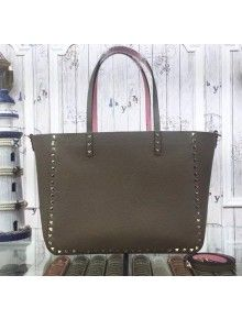 Valentino Rockstud Double Medium Reversible Tote Brwon 2015