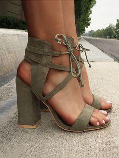 bb29a7b088c5fd Lace Up Open Toe Block Heels Sandals Block Heels Outfit