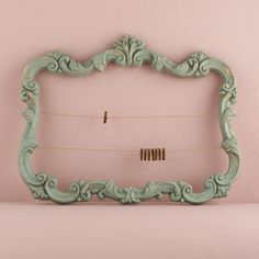 Open Ornate Vintage Inspired Frame in Aged Green Daiquiri Green