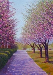 Cherry Trees by Coleman Hall, Bucknell University by Simonne Roy in the FASO Daily Art Show
