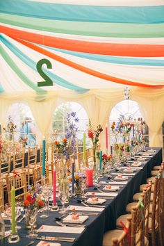 Colorful, ribbon filled Trudder Lodge Wedding by Siobhan Byrne | see all the fun at www.onefabday.com Lodge Wedding, Wedding Reception Decorations, Lodges, Cottages