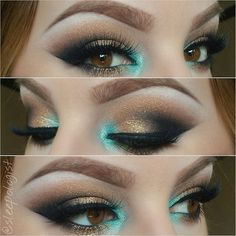 i love the pop of teal by the tear duct!!
