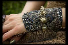 On Hold For Vanessa Queen Nefertiti Indigo Gauntlet Belly Dance Cuff by Louise Black