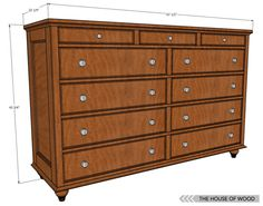 12 Free DIY Woodworking Plans for Building Your Own Dresser: The House of Woods Free 11 Drawer Dresser Plan Original article and pict. Woodworking Furniture Plans, Learn Woodworking, Popular Woodworking, Woodworking Projects, Woodworking Equipment, Woodworking Vise, Youtube Woodworking, Woodworking Machinery, Woodworking Workshop