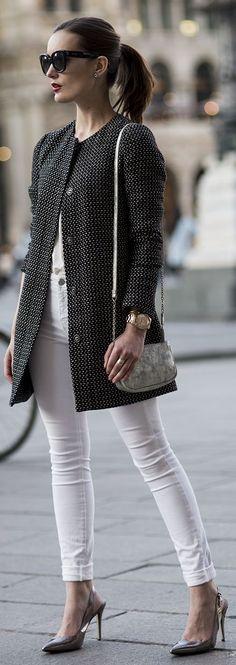 Benetton | Grey Tweed Coat.