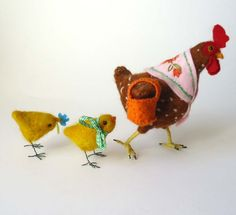Needle  Felted Animals  Spring Chicken and  Chicks   By Miss Bumbles
