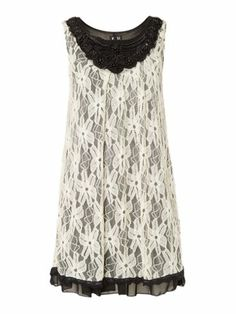 Izabel London Shift dress with beading and lace Cream - House of Fraser