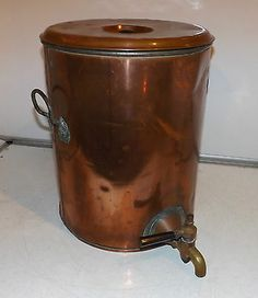 Large RARE Antique COPPER Hot WATER Hot TEA Urn BRASS Tap with HANDLES Lid
