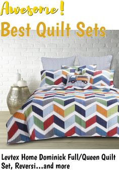 Levtex Home Dominick Full/Queen Quilt Set, Reversible, Stripe, 100% Cotton, Multicolor #quiltsets