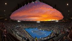 Amazing view of the sky taken from inside Ken Rosewall Arena Ken Rosewall, Rod Laver Arena, Australian Open, Slammed, World, City, Amazing, Places, Sports