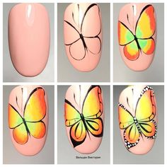 Heat Up Your Life with Some Stunning Summer Nail Art Butterfly Nail Designs, Butterfly Nail Art, Nail Art Designs, Peacock Nail Art, Bright Nail Art, Natural Nail Designs, Animal Nail Art, Nail Art Techniques, Finger Nail Art
