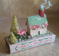 Village House w/ Bottle Brush Trees and Deer on Vintage Christmas Light Box CUTE