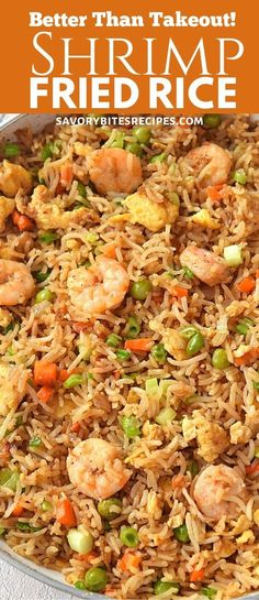 Better than takeout this recipe of restaurant style homemade chinese shrimp fried rice with egg is very easy,authentic and totally fix your lunch / dinner under 30 mins. rice recipe chinese food shrimp Better Than Takeout Shrimp Fried Rice! Shrimp And Rice Recipes, Shrimp Recipes For Dinner, Easy Rice Recipes, Shrimp Dishes, Seafood Dinner, Rice Dishes, Seafood Recipes, Asian Recipes, Healthy Recipes