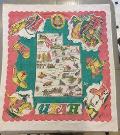 Vintage Souvenir Tablecloth Utah Native by unclebunkstrunk on Etsy