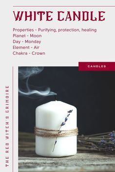 White Candle - Meaning and use | The white candle symbolizes purity and new beginnings. You can use white candles for consecration rituals, meditation, divination, exorcism, and healing spells. Burn a white candle to bring harmony and tranquillity, to protect and purify against negative energies, to open blocked roads, and to summon your spirit guides. White candles can generally be used to replace other colours. | Click to see the best-selling white candles (+ reviews and why people love them). Spiritual Candles, Spiritual Love, Spiritual Meaning, Candle Magic, Candle Spells, Candle Meaning, Prices Candles, Healing Spells, Protection Spells