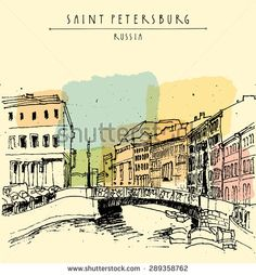 Old center of Saint Petersburg, Russia. Moika river and a bridge, historical classical buildings. Vector vintage illustration. Travel postcard, poster template in retro style. - stock vector