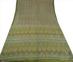 Vintage Indian Printed Saree Pure Cotton Fabric Floral Craft 5 Yard Green Sari