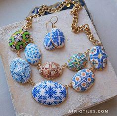 Portugal 9 Antique Azulejo Tile Replica Necklace and by Atrio