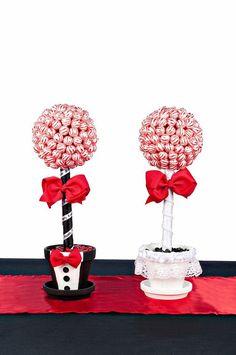 Lollipop novios Topiary novio de Candy Topiary centro de