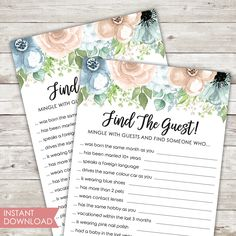 Printable | Bridal Shower Game | Find The Guest | Instant Download | PDF | Dusty Rose | Powder Blue | Florals | Shower Game | PDF Printable Bridal Shower Games, Find Someone Who, Print And Cut, Dusty Rose, Card Games, Florals, Card Stock, Powder, Pdf